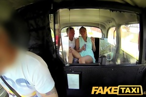 faketaxi joy time couple in backseat taxi some