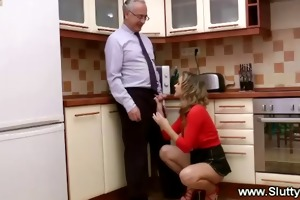 youthful blonde gets fucked in fourth kitchen by