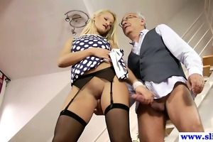 young euro doxy plays with old mans pecker