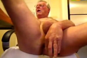 perverted oldman solo schlong and booty enjoyment