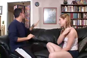 pigtailed teen babysitter copulates the daddy !