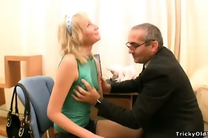 old teacher and young pretty coed have enjoyment