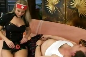 breasty whore nurse copulates old chap
