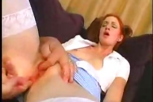 youthful redhead hotty drilled by mature man