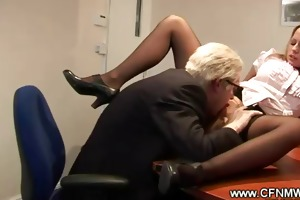 old geezer goes down on youthful doxy on his