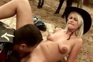 bulky old lad drilled by blond cutie