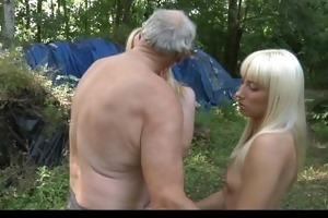 old woodcutter screwed by blond nubiles in the