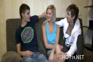 priceless gangbang with legal age teenager gal