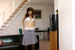 legal age teenager dilettante in nylons riding