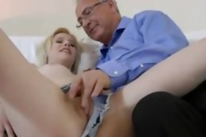 golden-haired cowgirl fucked by old guy
