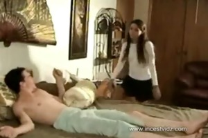 little sister catches her large brother jerking