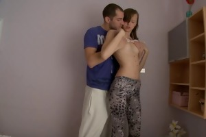 charming legal age teenager sister screwed in