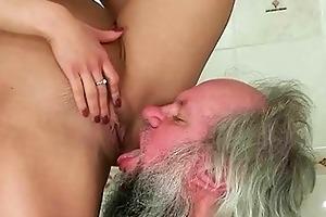 girl punishing and fucking a older man