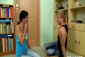 agreeable legal age teenager angel stands doggy