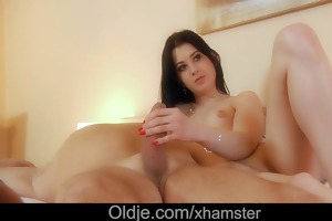 old jaintor teased and drilled by sexually