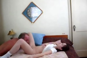 marvelous redhead creampied by old chap