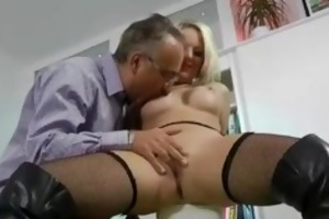 blond in boots fucking an old stud