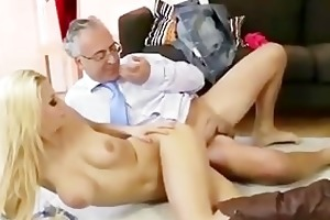 diminutive blond slut gets a jizz flow