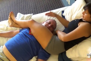muscle youthful angel destroying guy- scissorhold