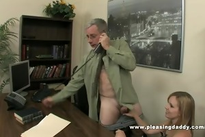 sexy bitch bonks old boss to secure the job